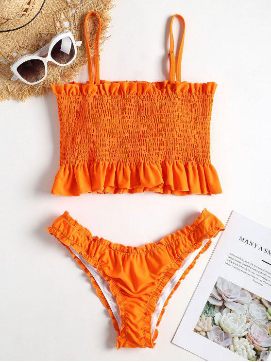women's Frills Trim Smocked Bikini - DARK ORANGE S