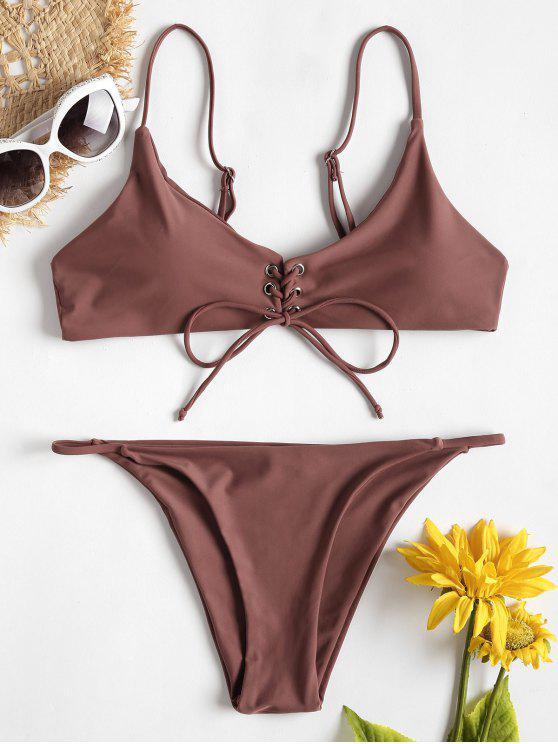 Vorder Schnürung Tanga Bikini Set - Rosa Bogen L