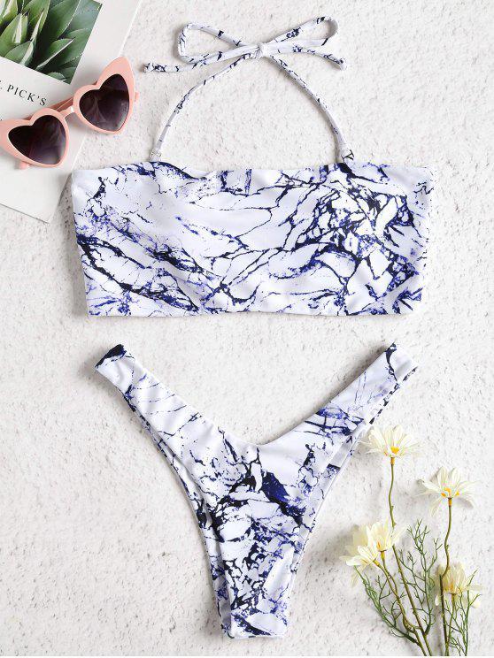 Marmor Druck Hohes Bein Bikini Set - Kadettenblau L