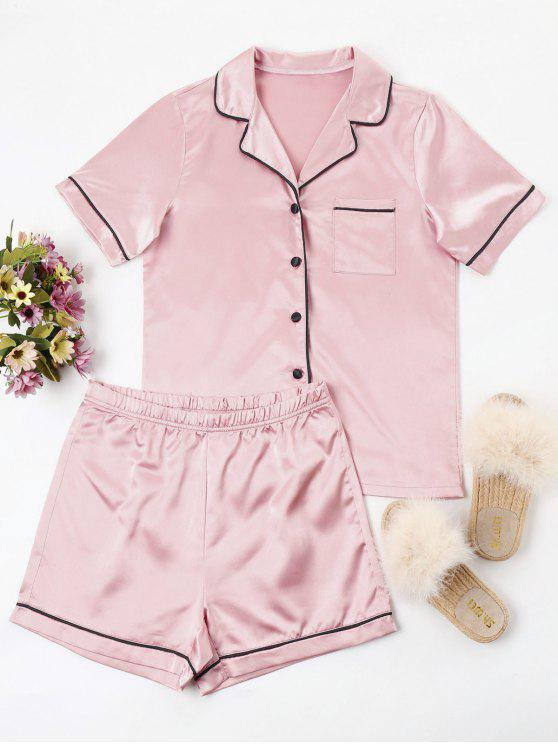 womens Buttoned Piping Pajama Set - LIGHT PINK L