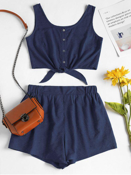chic Sleeveless Button Up Crop Top and Shorts Set - DEEP BLUE S