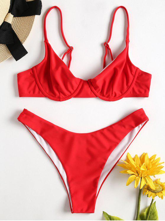 trendy Cami High Cut Bikini - LOVE RED L