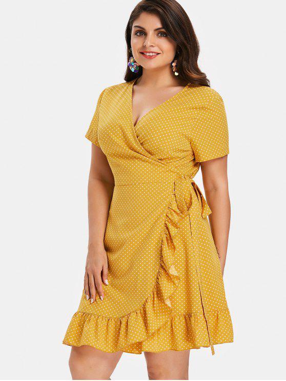 Polka Dot Plus Size Ruffles Wrap Dress RUBBER DUCKY YELLOW