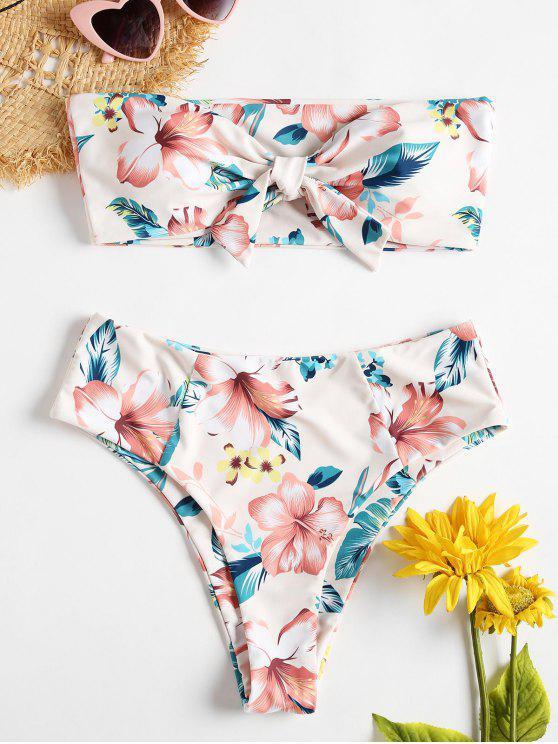 womens Strapless Floral High Rise Bikini Swimsuit - MULTI S