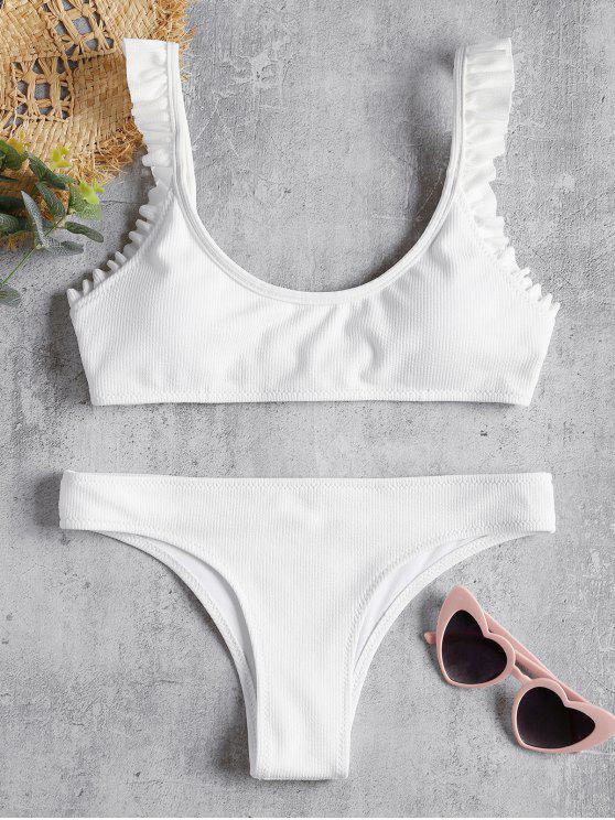 Bikini A Costine Con Bordi A Balze - Bianco S