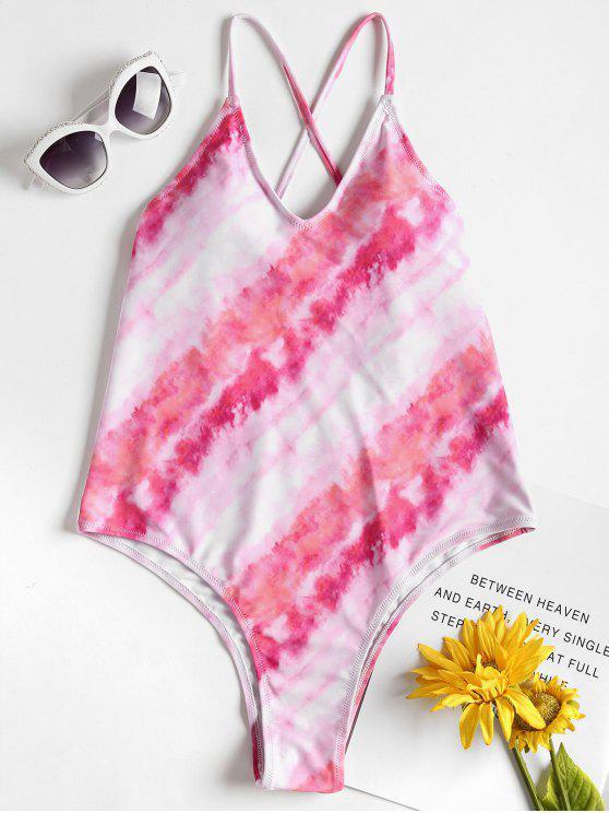 Costume Da Bagno Di Tie-Dye Con Taglio Alto Senza Schienale - Rosa Chiaro S