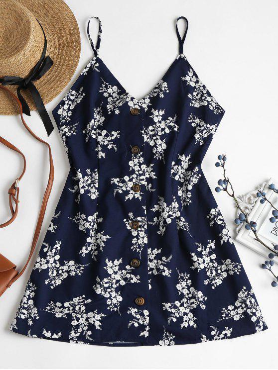 fashion Floral Print Buttoned Cami Dress - MIDNIGHT BLUE L