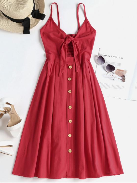 lady Smocked Tie Front Cami Dress - VALENTINE RED M
