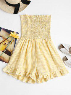 Smocked Gingham Strapless Romper - Corn Yellow M