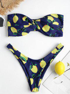 Lemon Print High Cut Bikini Set - Navy Blue S
