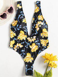 High Leg Floral Plunge Swimsuit - Black L