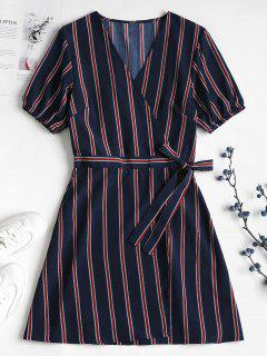 Striped Chiffon Wrap Dress - Deep Blue M