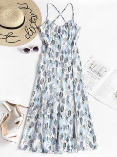 Lace Up Slit Maxi Dress - White L