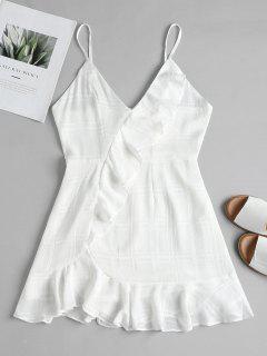 Vestido Camisero De Cintura Alta Con Volantes - Blanco S