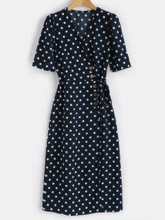 Polka Dot Buttoned Dress - Midnight Blue S