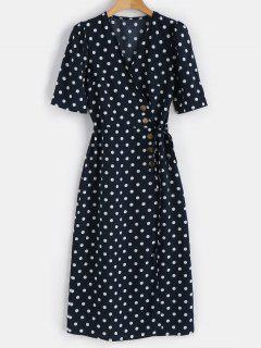 Knopf Punkt Knopf Kleid - Mitternacht Blau L