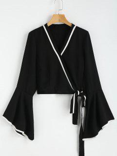 Flare Sleeve Wrap Blouse - Black M