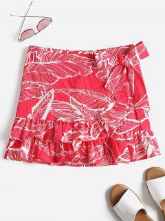 Falda Con Volantes Y Estampado De Hojas - Rojo S