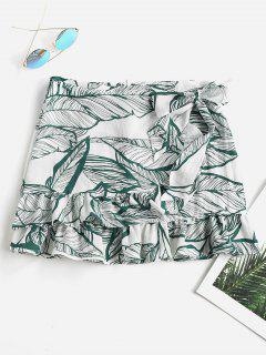Leaf Print Wrap Flounce Skirt - Medium Sea Green S