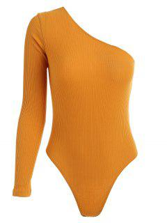 One Sleeve Ribbed One Shoulder Bodysuit - Mustard S
