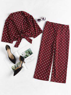 Polka Dot Tie Front Pants Set - Red Wine S