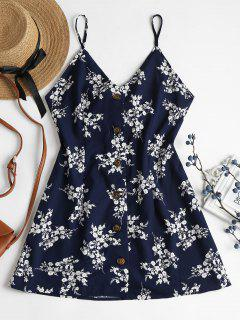 Blumen Druck Knopf Cami Kleid - Mitternacht Blau L