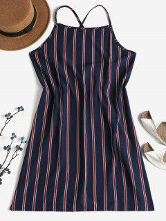 Striped Shift Backless Dress - Deep Blue M