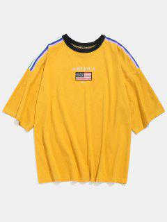 American Flag Letter Side Stripes T-shirt - Yellow Xl