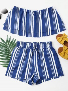 Striped Tiered Shorts Set - Blueberry Blue M