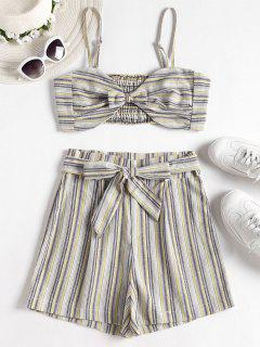 Smocked Stripes Top And Shorts Set - Multi S