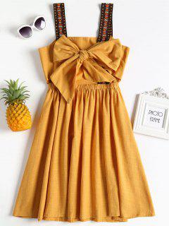 Knotted Tassels Mini Dress - Bright Yellow
