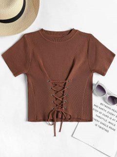 Lace Up Knitted Top - Deep Coffee