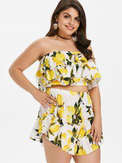Flounce Plus Size Lemon Print Shorts Set - Yellow 1x