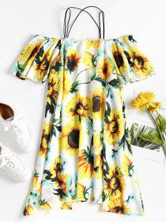 Cold Shoulder Floral Mini Dress - Yellow Xl