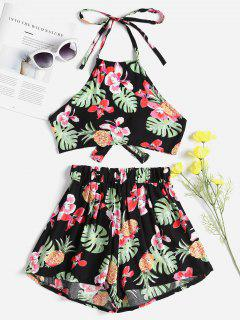 Floral Knotted Top And Shorts Set - Black L