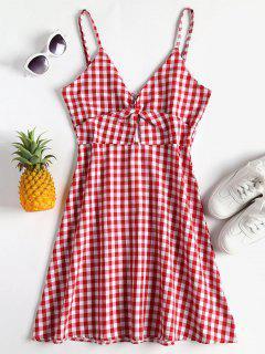 Twist Gingham Cami Dress - Cherry Red M