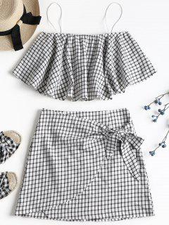 Plaid Cami Skirt Set - White L