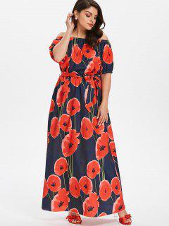 Plus Größe Blumen Gürtel Kleid  - Dunkles Schieferblau 4x