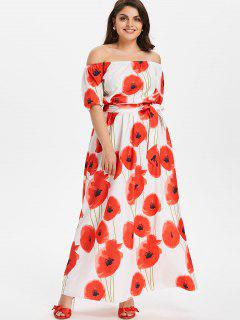 Plus Size Floral Belted Dress - White 3x