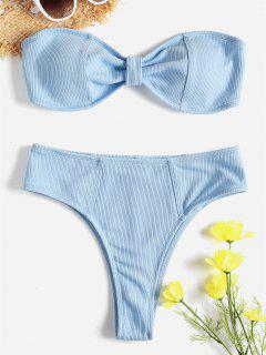 Ribbed Knot High Waisted Bikini Set - Light Blue M