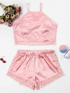 Satin Lace Trim Cami Top And Shorts Set - Pink Xl