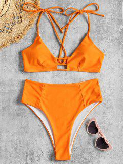 Riemchen Schulter Kreuz Rücken Hoch Taillierter Bikini - Orange L