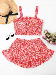 Floral Ruffled Cami Top And Shorts Set - Red Xl
