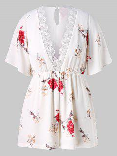 Plus Size Low Cut Floral Romper - White 1x