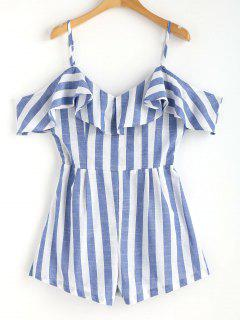 Cami Striped Cold Shoulder Romper - Blue S
