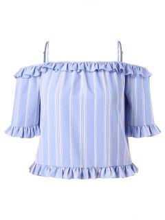 Plus Size Stripe Cold Shoulder Frills Trim Blouse - Light Blue 4x