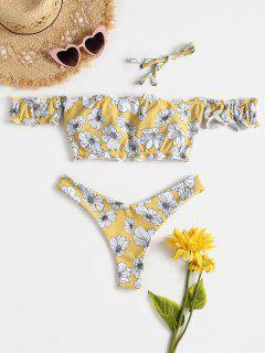 Schulterfrei Hohes Bein Blumen Bikini Set - Ernte Gelb M