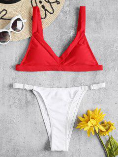 Cami Zweifarbiger String Bikini - Liebes Rot S