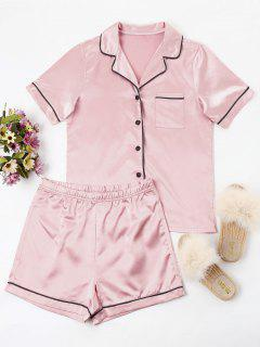 Buttoned Piping Pajama Set - Light Pink S