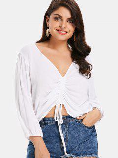 Plus Size Plunge Tied Blouse - White 4x